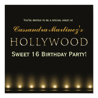 Hollywood Lights Gold Typography Party Invitation