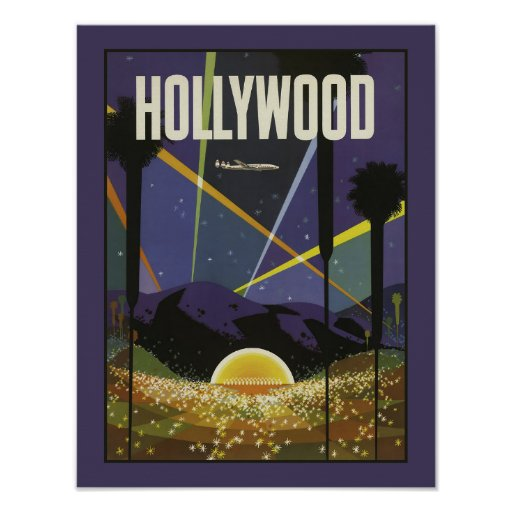 hollywood los angeles vintage travel poster