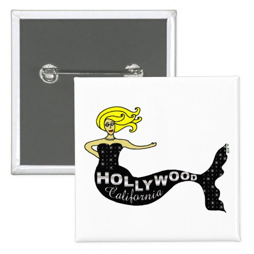Hollywood Mermaid Square Pinback Buttons