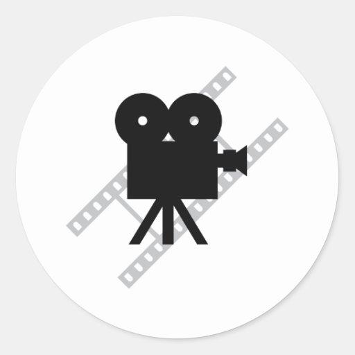 hollywood movie cine camera film round stickers