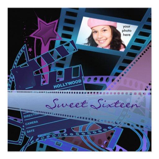 Hollywood Movie Star Sweet 16 Birthday Party Invitations