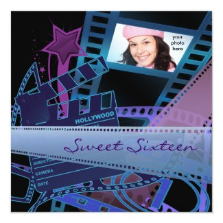 Hollywood Movie Star Sweet 16 Birthday Party 5.25x5.25 Square Paper Invitation Card