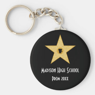 Hollywood Nights Gold Star Prom Formal Favor Keychain