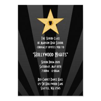 Hollywood Nights Gold Star Prom Formal Invitation