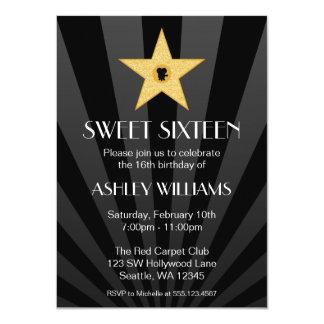 Hollywood Nights Gold Star Sweet 16 Birthday 4.5x6.25 Paper Invitation Card