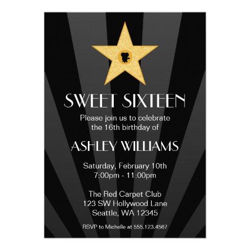 Hollywood Nights Gold Star Sweet 16 Birthday Custom Announcements