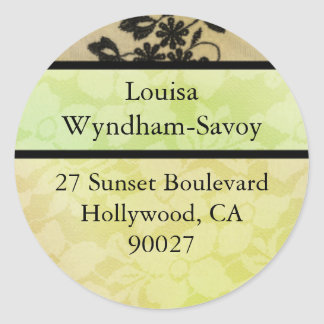 Hollywood Nights in Green - Address Labels Classic Round Sticker