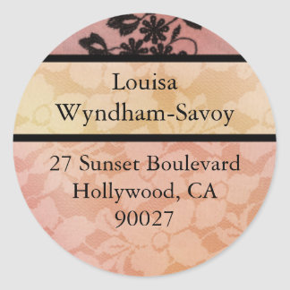 Hollywood Nights in Peach - Address Labels Classic Round Sticker