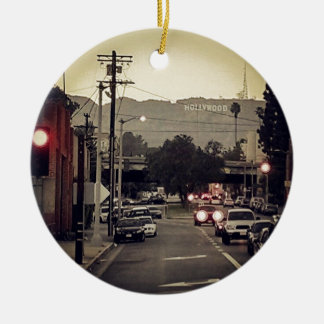 Hollywood Double-Sided Ceramic Round Christmas Ornament