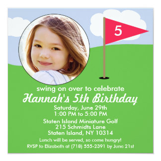 Hollywood Pink Hole in One Photo Mini Golf Party Card