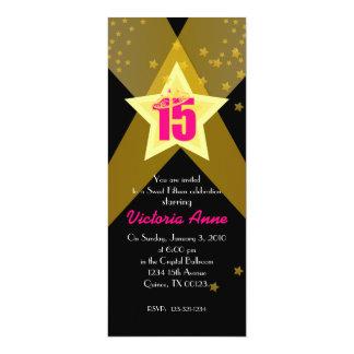 "HOLLYWOOD quinceañera custom invitation PINK 4"" X 9.25"" Invitation Card"