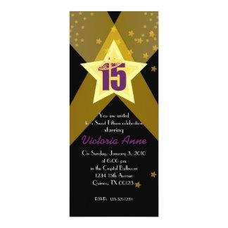 """HOLLYWOOD quinceañera custom invitation PURPLE 4"""" X 9.25"""" Invitation Card"""