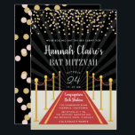 """Hollywood Red Carpet Bat Mitzvah Invitation<br><div class=""""desc"""">Chic Hollywood theme bat mitzvah invitations are perfect for your moment in the spotlight! Invitations feature a red carpet and velvet rope design with your name and bat mitzvah ceremony and party details in white lettering,  topped with blush and gold confetti.</div>"""