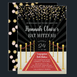 "Hollywood Red Carpet Bat Mitzvah Invitation<br><div class=""desc"">Chic Hollywood theme bat mitzvah invitations are perfect for your moment in the spotlight! Invitations feature a red carpet and velvet rope design with your name and bat mitzvah ceremony and party details in white lettering,  topped with blush and gold confetti.</div>"