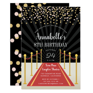 Oscar Themed Birthday Party Invitations Red Carpet Birthday Party
