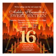 Hollywood Red Carpet City Sweet 16 Birthday Invites