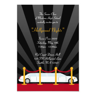 "Hollywood Red Carpet Limo Prom Formal Invitation 5"" X 7"" Invitation Card"