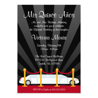 Hollywood Red Carpet Limo Quinceanera Party Card