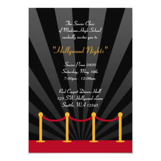 "Hollywood Red Carpet Prom Formal Invitations 5"" X 7"" Invitation Card"