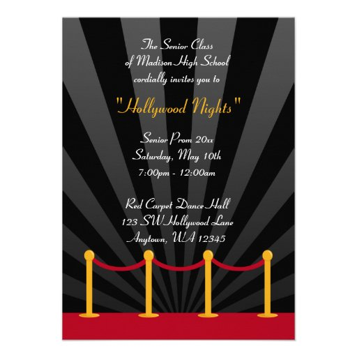 Hollywood Red Carpet Prom Formal Invitations Zazzle
