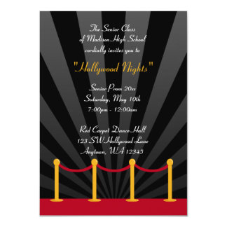 "Hollywood Red Carpet Prom Formal Invitations 4.5"" X 6.25"" Invitation Card"