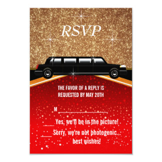 "Hollywood Red Carpet RSVP 3.5"" X 5"" Invitation Card"