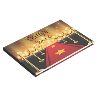 purplepaperinvites Hollywood Red Carpet Sweet 16 Custom Guest Book