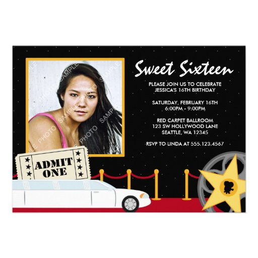Hollywood Red Carpet Sweet 16 Photo Invitation Custom Announcements
