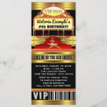 """Hollywood Red Carpet Ticket Party Invitations<br><div class=""""desc"""">Hollywood red carpet invitation with beautiful red and gold red carpet and marquee on a beautiful black and gold background. You can easily customize these gorgeous red carpet party invitations for your event by simply adding your details. You can also remove the glitter background to add your own color. This...</div>"""