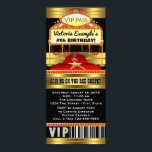"Hollywood Red Carpet Ticket Party Invitations<br><div class=""desc"">Hollywood red carpet invitation with beautiful red and gold red carpet and marquee on a beautiful black and gold background. You can easily customize these gorgeous red carpet party invitations for your event by simply adding your details. You can also remove the glitter background to add your own color. This...</div>"