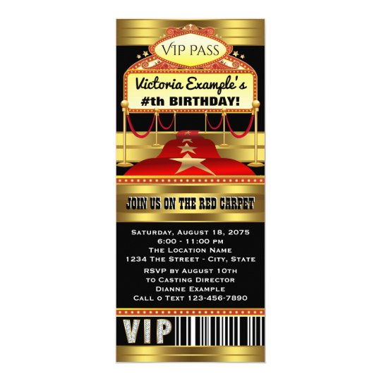 hollywood red carpet ticket party invitations zazzle com