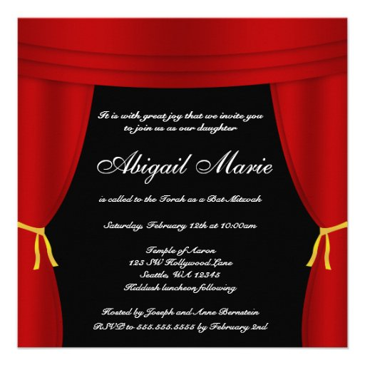 Hollywood Red Curtain Bat Mitzvah Announcement