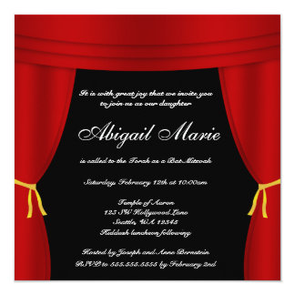 "Hollywood Red Curtain Bat Mitzvah 5.25"" Square Invitation Card"