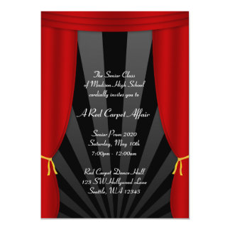 """Hollywood Red Curtain Prom Formal Invitations 5"""" X 7"""" Invitation Card"""