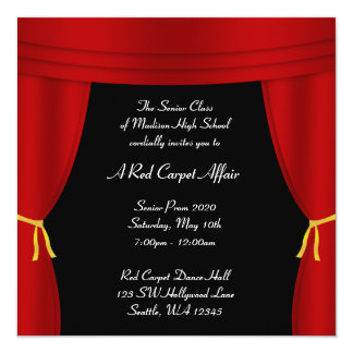 """Hollywood Red Curtain Prom Formal Square 5.25"""" Square Invitation Card"""