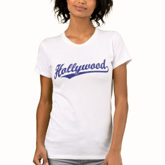 Hollywood script logo in blue distressed t shirts