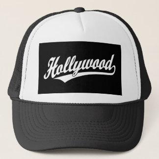 Hollywood script logo in blue in white trucker hat