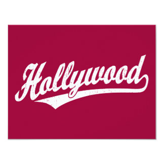 Hollywood script logo in white distressed invites