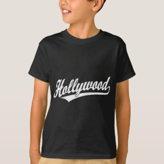Hollywood script logo in white distressed T-Shirt