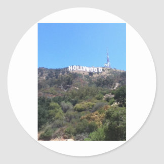 hollywood sign classic round sticker