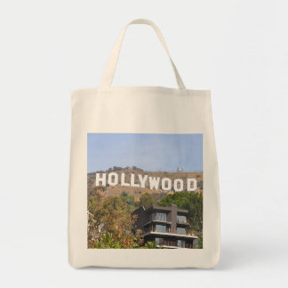 Hollywood sign grocery tote bag