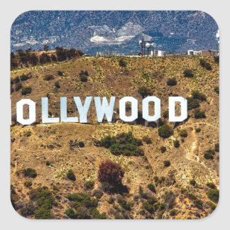 Hollywood Sign Iconic Mountains Los Angeles Square Sticker