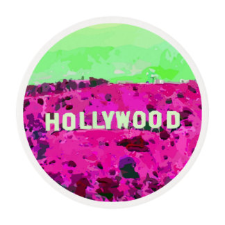 Hollywood Sign Los Angeles California Edible Frosting Rounds