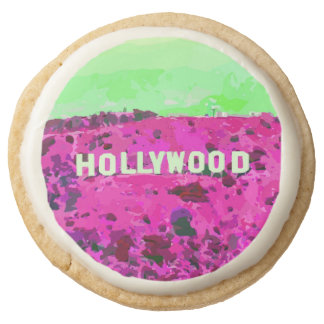 Hollywood Sign Los Angeles California Round Shortbread Cookie
