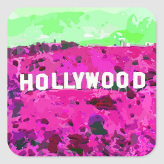 Hollywood Sign Los Angeles California Square Sticker