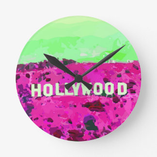 Hollywood Sign Los Angeles Round Clock