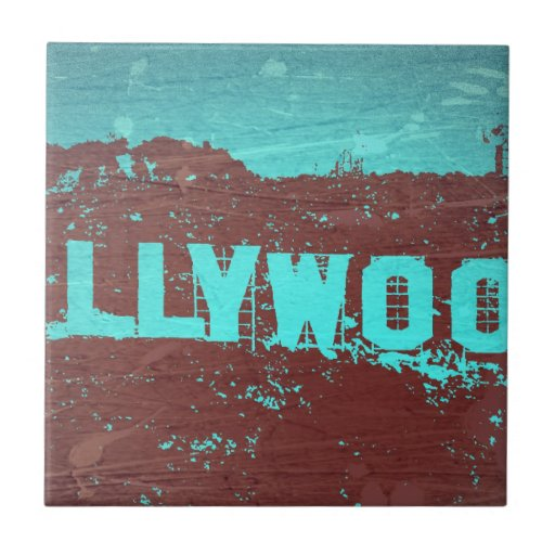 Hollywood sign Los Angeles Small Square Tile