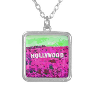 Hollywood Sign Los Angeles Square Pendant Necklace