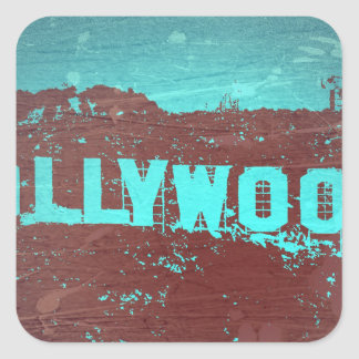 Hollywood sign Los Angeles Square Sticker