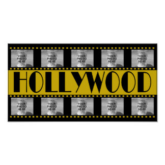 Hollywood Sign Movie Reel Photo Collage Poster